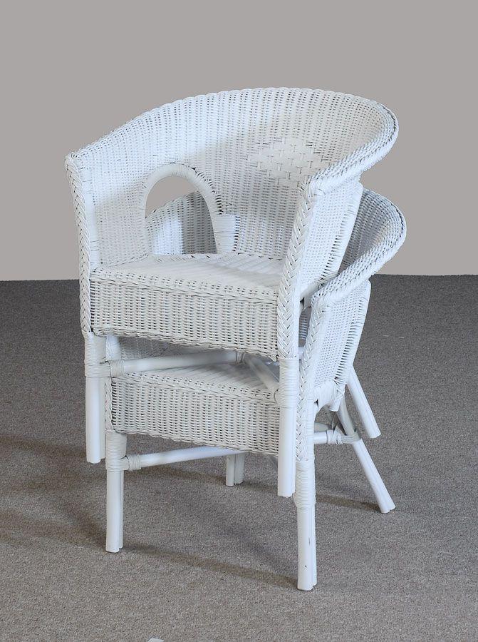 Rattan Stuhl neu weiß Sessel Korbsessel stapelbar zweier